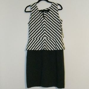 Tahari Dress- Black & White - Stretchy Size 12